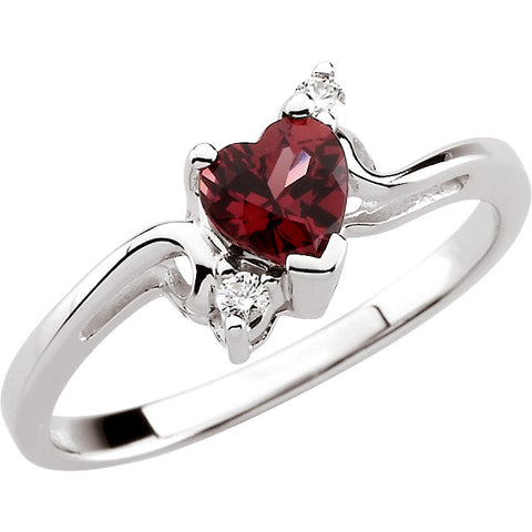 (0.50 Carat) 14K White Gold Heartshaped Rhodolite Garnet + Diamond Ring (January Birthstone)