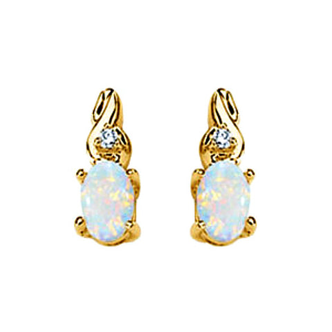 14K Yellow Gold Oval Opal + Diamond Earrings