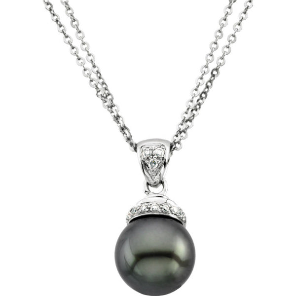 14K White Gold Diamond + Freshwater Cultured Black Pearl (9MM) Pendant Necklace