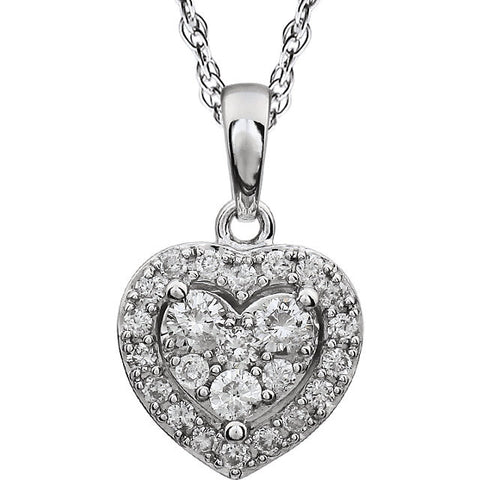 "(0.40 Carat) 14k White Gold Diamond Halo Style Heart Pendant Necklace (18"") (Color: H, Clarity: I)"