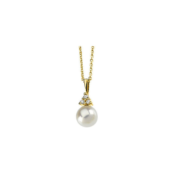 "14K Yellow Gold Akoya Cultured Pearl (7MM) + Diamond Pendant Necklace (18"")"