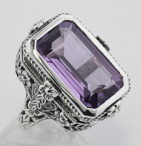 AMETHYST RING STERLING SILVER ANTIQUE STYLE FILIGREE