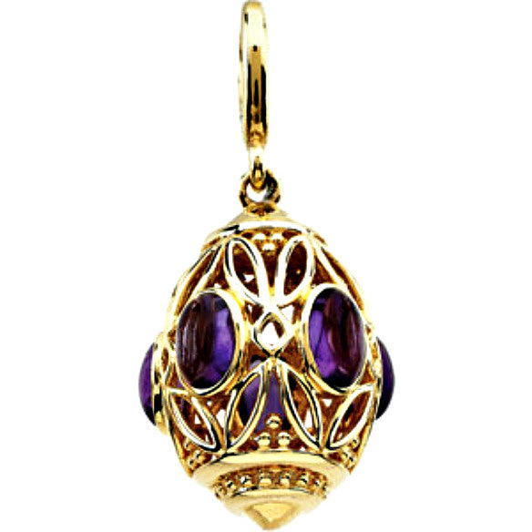 14K Yellow Gold Amethyst Charm w/ Etruscan Gold Detail