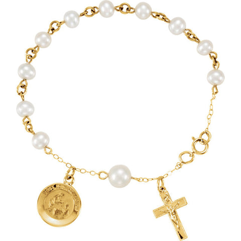 14K Yellow Gold Cultured Freshwater Pearl Rosary Bracelet w/ First Communion and Cross Charm