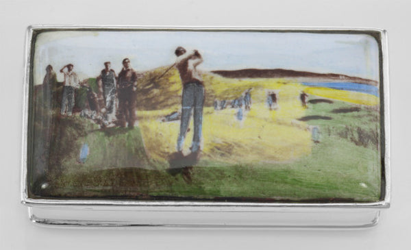 STERLING SILVER PILLBOX MAN PLAYING GOLF PORCELAIN TOP WITH  RETAIL $225 + TAX!