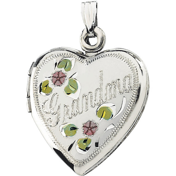 Sterling Silver Grandma Heart Locket Pendant w/ pink + yellow flower detail (holds 2 photos)