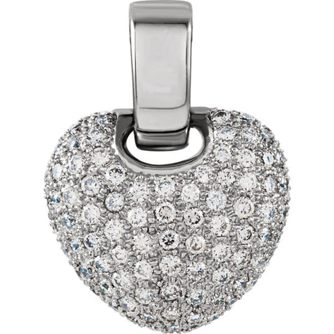 (1 Carat) 14K White Gold Heart Shaped Pendant (Color: H, Clarity: SI) (20MM x 15.5MM)