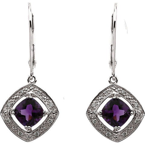14K White Gold Antique, Vintage Style Cushion Cut Amethyst + Diamond Dangling Earrings