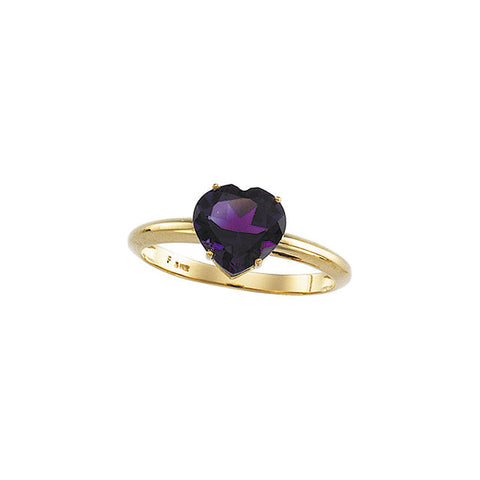 (2 Carat) 14K Yellow Gold Heartshaped Amethyst Ring