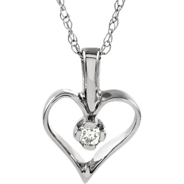 14K WHITE GOLD NECKLACE DIAMOND HEART PENDANT GOLD CHAIN