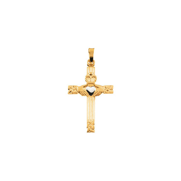 14K Yellow Gold Claddagh Cross Pendant (25x17MM)