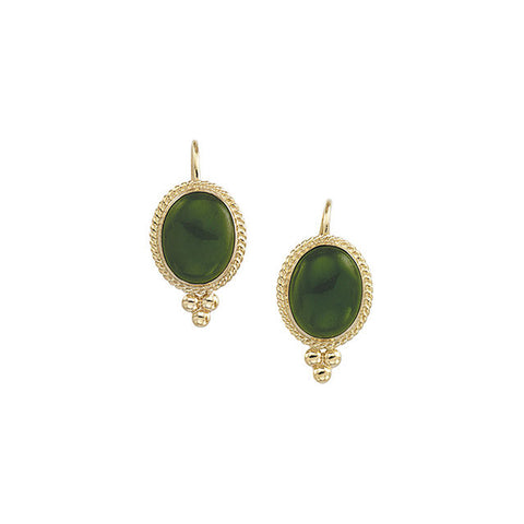 (6 Carat) 14K Yellow Gold Oval Nephrite Green Jade Earrings, Gold Roping + Gold Bead Cluster Detail