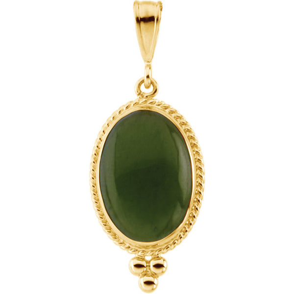 14K Yellow Gold Nephrite Jade Pendant (14 x 10MM)