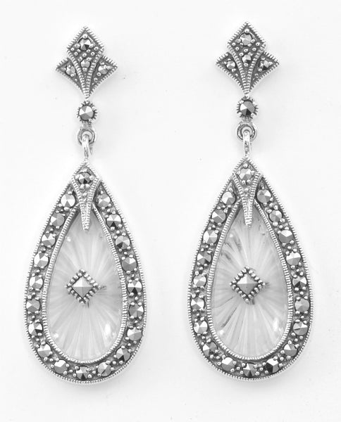 SUNRAY CRYSTAL EARRINGS w MARCASITE FILIGREE STERLING SILVER RETAIL $325 + TAX!