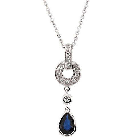 (0.60 Carat) 14K White Gold Sapphire + Diamond Dangling Pendant Necklace