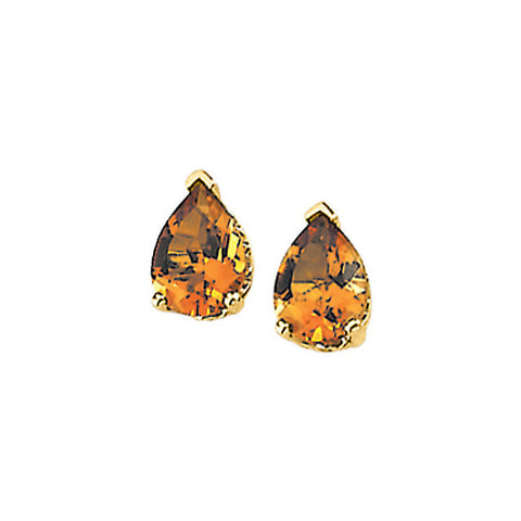 GENUINE CITRINE EARSTUDS 14K GOLD PEARSHAPE EARRINGS RETAIL $215 + TAX!
