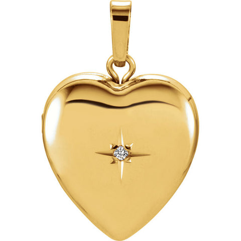 14K Yellow Gold Heart Locket w/ Diamond Detail