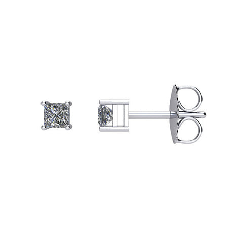 (0.25 Carat) Diamond Princess Cut Stud Earrings in 14k White Gold - Color: G, Clarity: I1