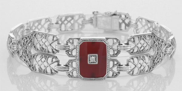CARNELIAN BRACELET STERLING SILVER FILIGREE ANTIQUE STYLE