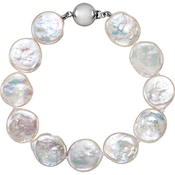 COIN PEARL BRACELET FLAT PEARLS 7 3/4 INCH STERLING SILVER CLASP