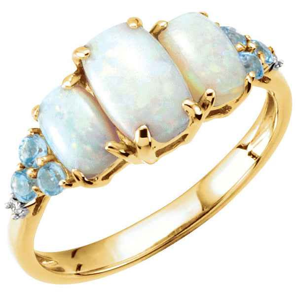 14K Yellow Gold Opal, Blue Topaz + Diamond Ring