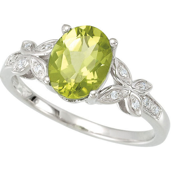 (2.5 Carat) 14K White Gold Peridot Ring w/ Butterfly Diamond Setting