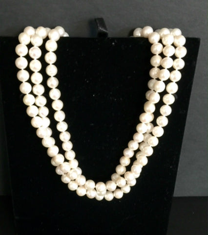 CULTURED PEARL NECKLACE 3 ROW  STERLING SILVER CLASP