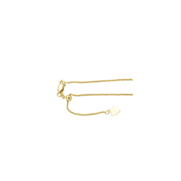 "14K Yellow Gold Chain Necklace - Adjustable Length (22"")"