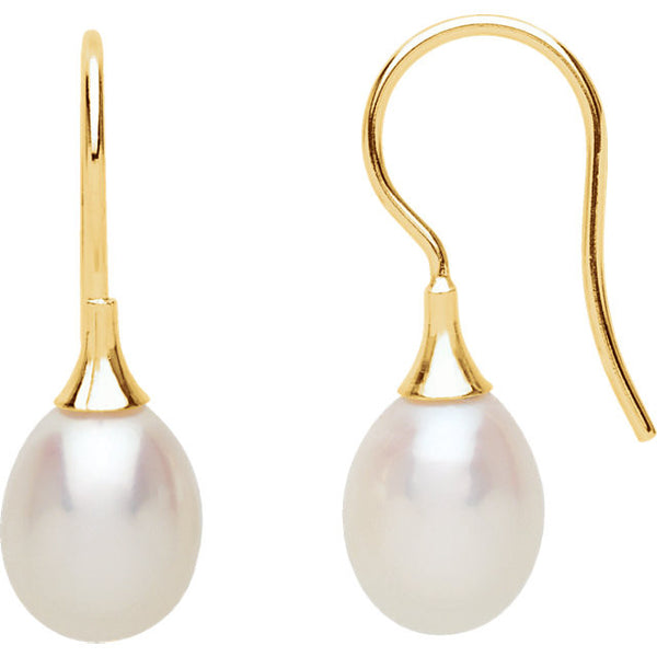 14K Yellow Gold Cultured Pearl Dangling Earrings (8.5MM)
