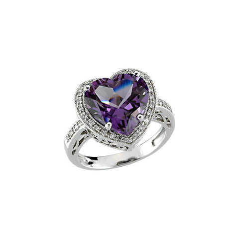(7 Carat) 14K White Gold Heartshaped Amethyst + Diamond Ring