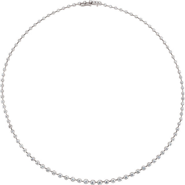 "(5 Carat) 14K White Gold Diamond Line Tennis Necklace (18"") (Color: H, Clarity: I1)"