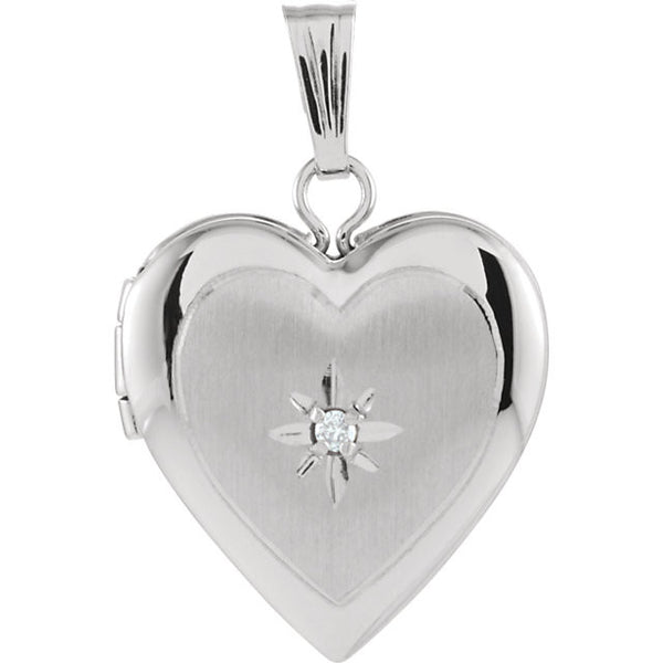 14K White Gold Heart Shaped Locket w/ Diamond Accent - holds 2 photos (13.50MM)