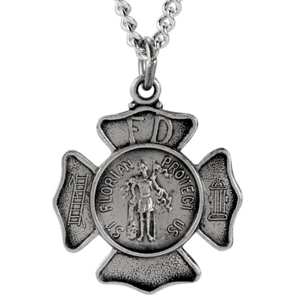 "14k Solid Sterling Silver St. Florian Medal Pendant - The Saint of Firefighters (24"" chain length)"