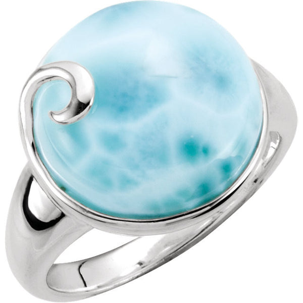 GENUINE BLUE LARIMAR RING STERLING SILVER RETAIL $190 + TAX!