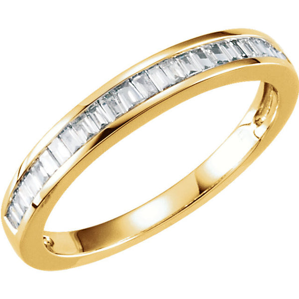 (0.25 Carat) 14K Yellow Gold Baguette Diamond Anniversary Wedding Band (Color: H, Clarity: SI)