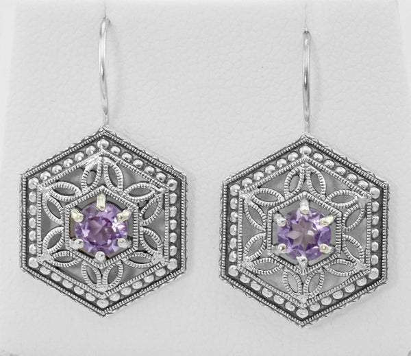 ANTIQUE STYLE AMETHYST EARRINGS STERLING SILVER FILIGREE