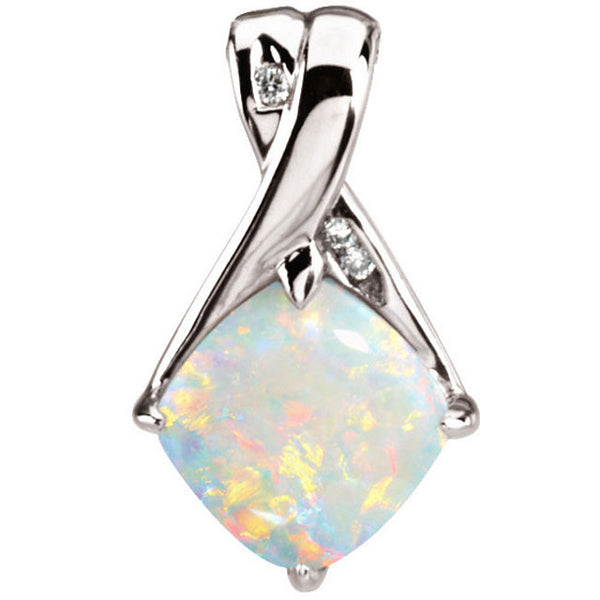 (1.3 Carat) Opal Pendant with 3 Diamond Detail and 14k White Gold