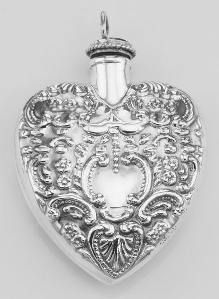 PERFUME BOTTLE STERLING SILVER HEART PENDANT ANTIQUE STYLE  RETAIL $150 + TAX!