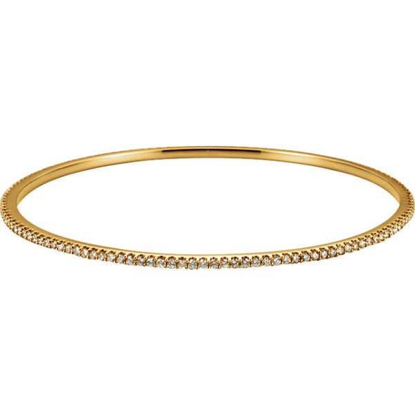 DIAMOND BRACELET = 2 CARATS! 14K GOLD STACKABLE BANGLE