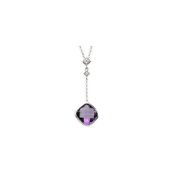 "(3.5 Carat) 14K White Gold Dangling Checkerboard Amethyst + Diamond Pendant Necklace Rollo Link Chain (18"")"
