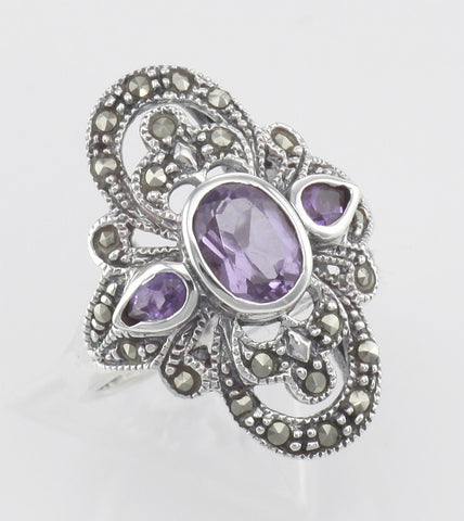 RING STERLING SILVER ANTIQUE STYLE AMETHYST MARCASITE