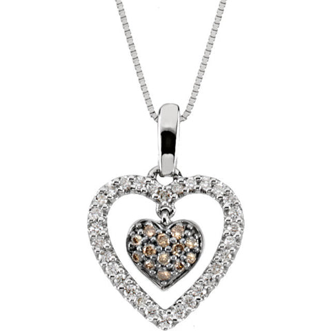 "(0.25 Carat) 14K White Gold Diamond + Chocolate Diamond Heart Pendant Necklace (18"")"