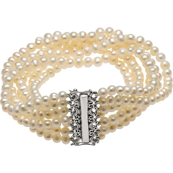 "Sterling Silver Cultured 7 Strand Freshwater Cultured Pearl Bracelet (4.50MM) (7.5"")"