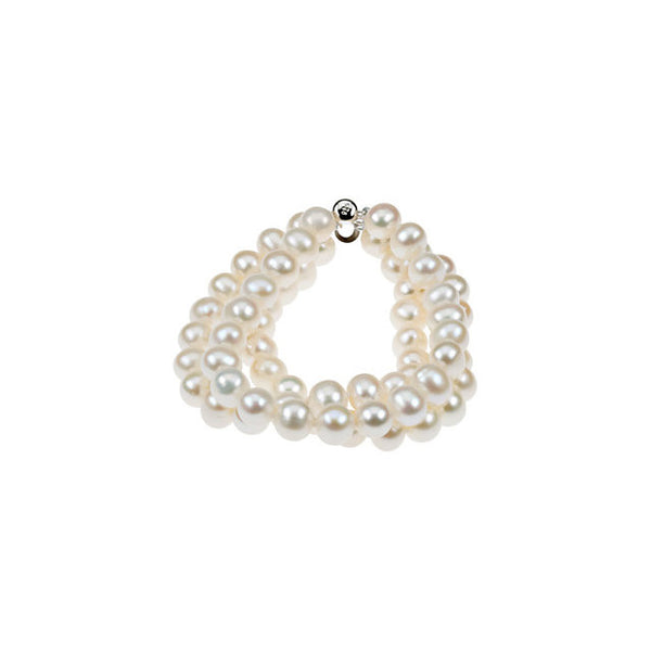TRIPLE STRAND CULTURED PEARL BRACELET STERLING CLASP RETAIL $125 + TAX!