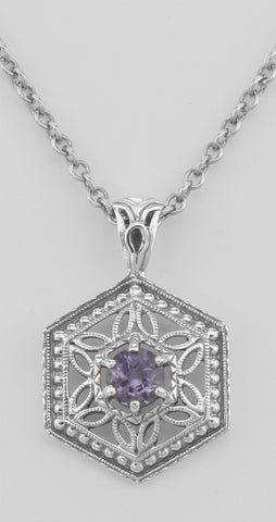 ANTIQUE STYLE AMETHYST NECKLACE STERLING FILIGREE