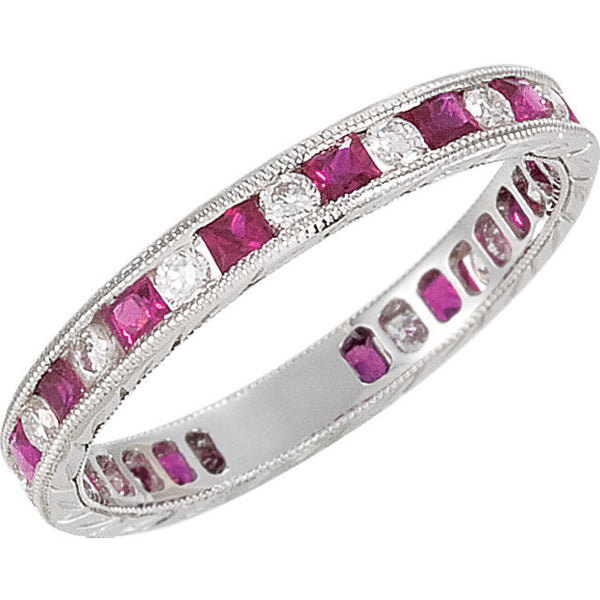(0.80 Carat) 14K White Gold Round Diamond + Princess Cut Ruby Eternity Wedding Band