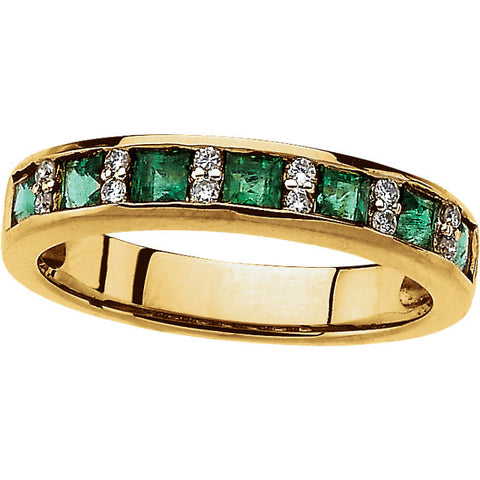 14K Yellow Gold Princess Cut Emerald +  Diamond Wedding Band