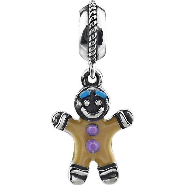 Sterling Silver Gingerbread Man Charm/Pendant (15MM)