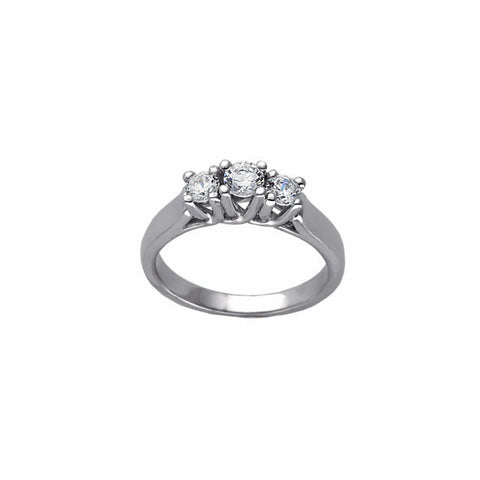 (0.4 Carat) 14K White Gold Three Stone Diamond Engagement Ring (Color: G)