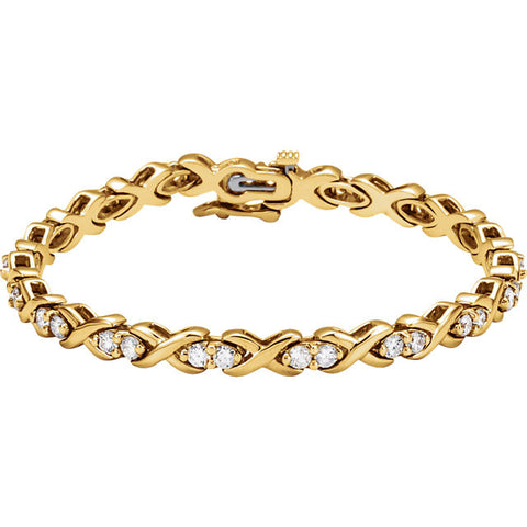 (2.5 Carat) 14K Gold Diamond Line Tennis Bracelet (Color: G, Clarity: I1)